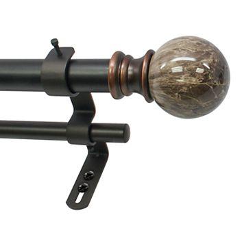 Decopolitan Marble Ball Adjustable Double Curtain Rod