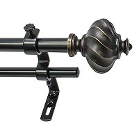 Decopolitan Ribbed Knob Adjustable Double Curtain Rod
