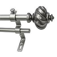 Decopolitan Ribbed Knob Adjustable Double Curtain Rod