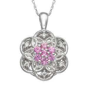 Simply Vera Vera Wang Pink Sapphire & 1/10 Carat T.W. Diamond Sterling Silver Flower Pendant Necklace