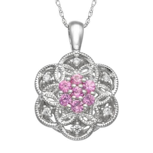 Simply Vera Vera Wang Pink Sapphire & 1/10 Carat T.W. Diamond Sterling Silver Flower Pendant Necklace