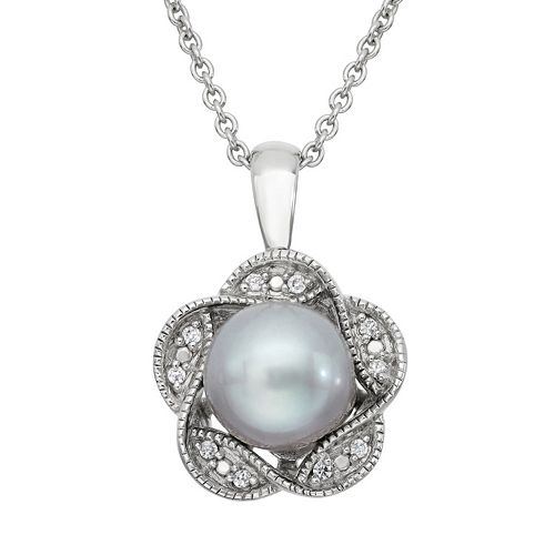 Simply Vera Vera Wang Dyed Freshwater Cultured Pearl & Diamond Accent Sterling Silver Flower Pendant Necklace