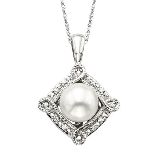 Simply Vera Vera Wang Freshwater Cultured Pearl & Diamond Accent Sterling Silver Frame Pendant Necklace