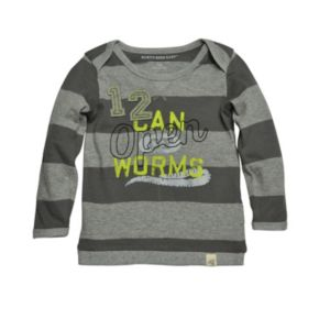 "Baby Boy Burt's Bees Baby Organic ""Open Can of Worms"" Rugby Stripe Tee"