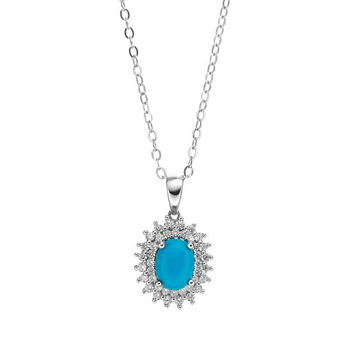 Sparkle Gem Sterling Silver Simulated Turquoise & Cubic Zirconia Halo Pendant Necklace