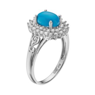 Sparkle Gem Sterling Silver Simulated Turquoise & Cubic Zirconia Halo Ring