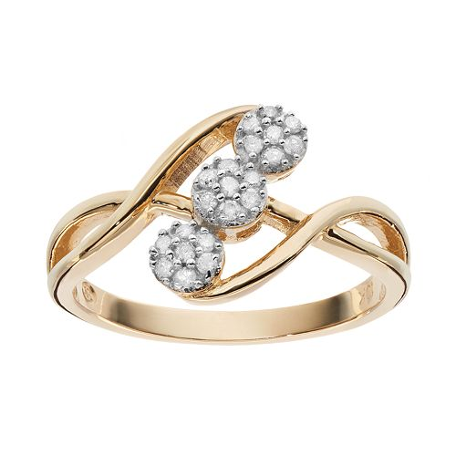 1/6 Carat T.W. Diamond 10k Gold Triple Flower Ring