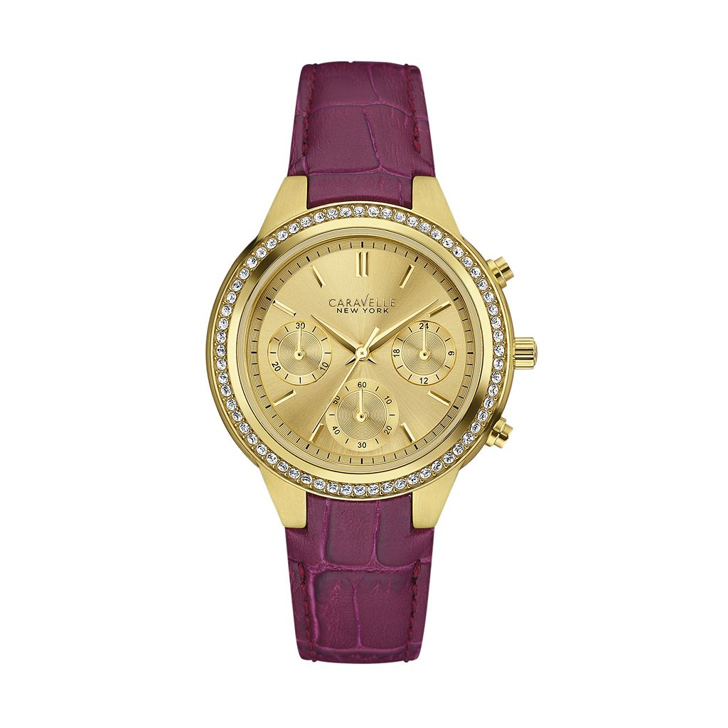 Caravelle New York by Bulova Women's Crystal Leather Chronograph Watch - 44L182