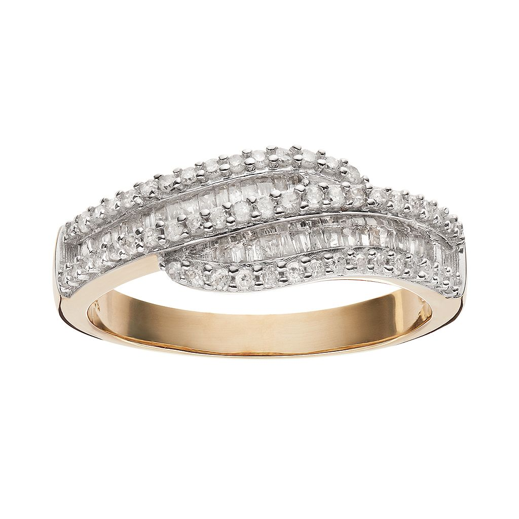 3/8 Carat T.W. Diamond 10k Gold Bypass Ring
