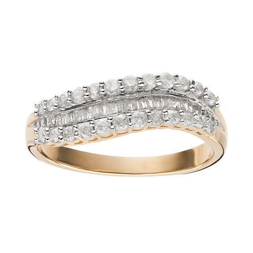 1/2 Carat T.W. Diamond 10k Gold Wavy Ring