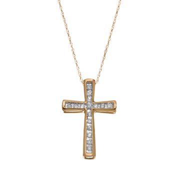 1/4 Carat T.W. Diamond 10k Gold Cross Pendant Necklace