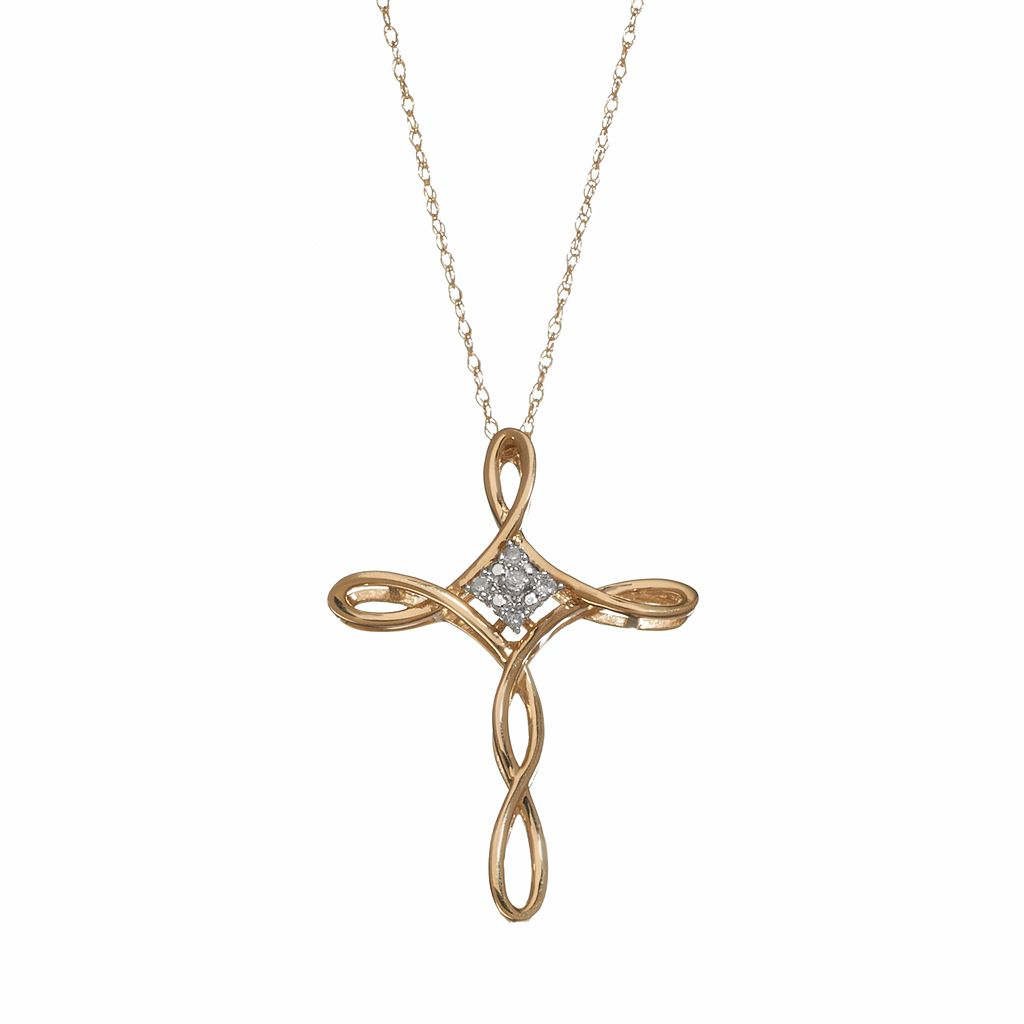 Diamond Accent 10k Gold Crisscross Cross Pendant Necklace