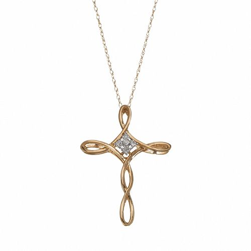 Diamond Accent 10k Gold Crisscross Cross Pendant Necklace