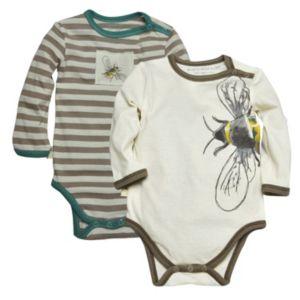 Baby Boy Burt's Bees Baby 2-pk. Organic Bee Long-Sleeve Bodysuits