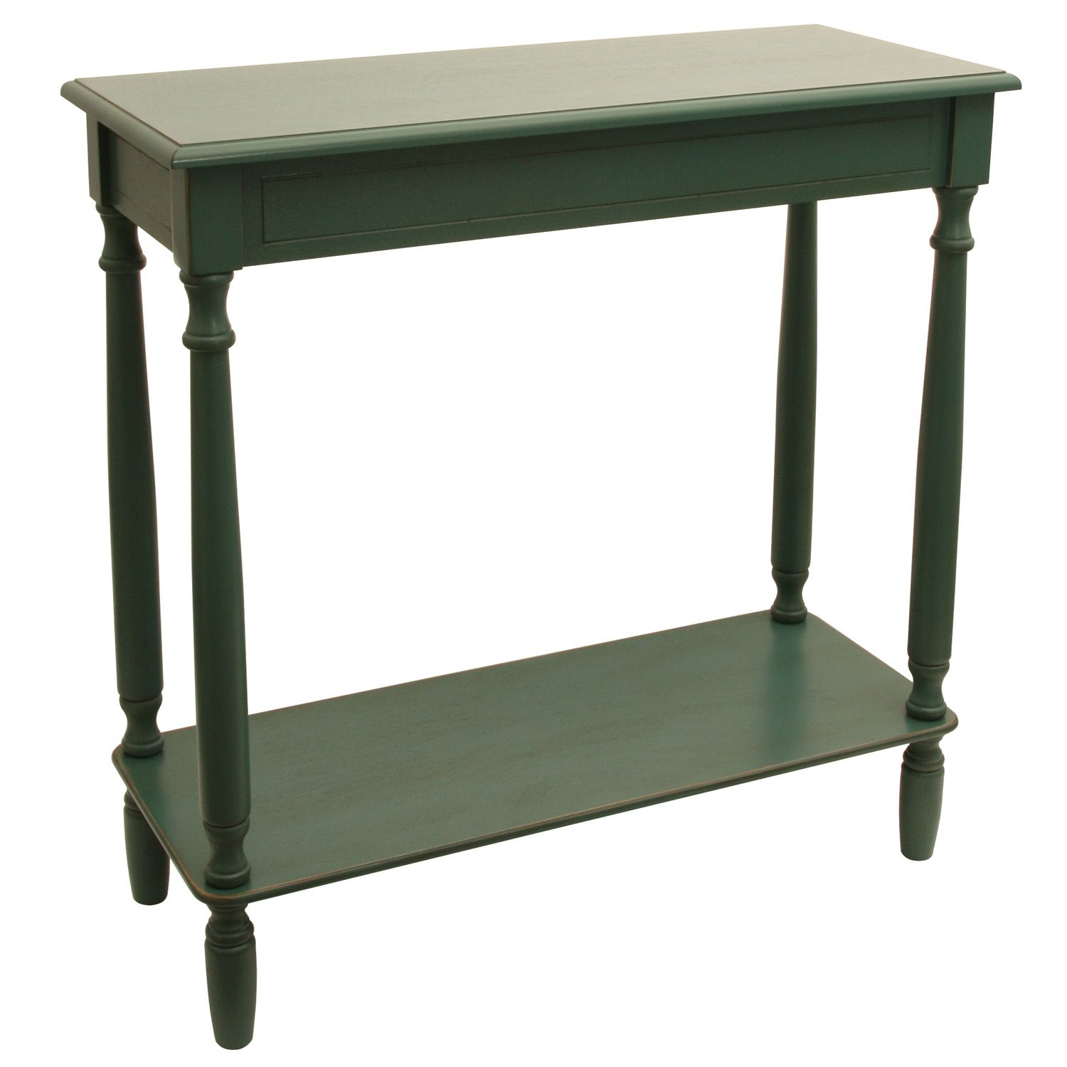Decor Therapy Simplify Rectangle Console Table. Antique White Antique Teal
