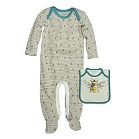 Baby Boy Burt's Bees Baby Organic Striped Bee Coverall