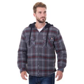 Men's Dickies Plaid Flannel Hooded Shirt