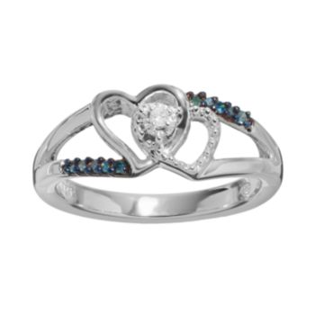 Blue & White Diamond Accent Sterling Silver Double Heart Promise Ring