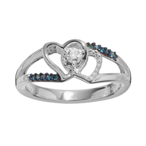 blue amp white diamond accent sterling silver double heart