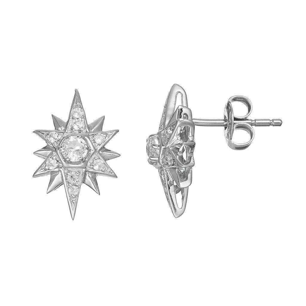 Sparkle Gem Sterling Silver White Topaz Starburst Stud Earrings