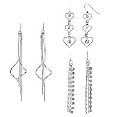 Mudd® Heart, Helix & Cup Chain Nickel Free Drop Earring Set
