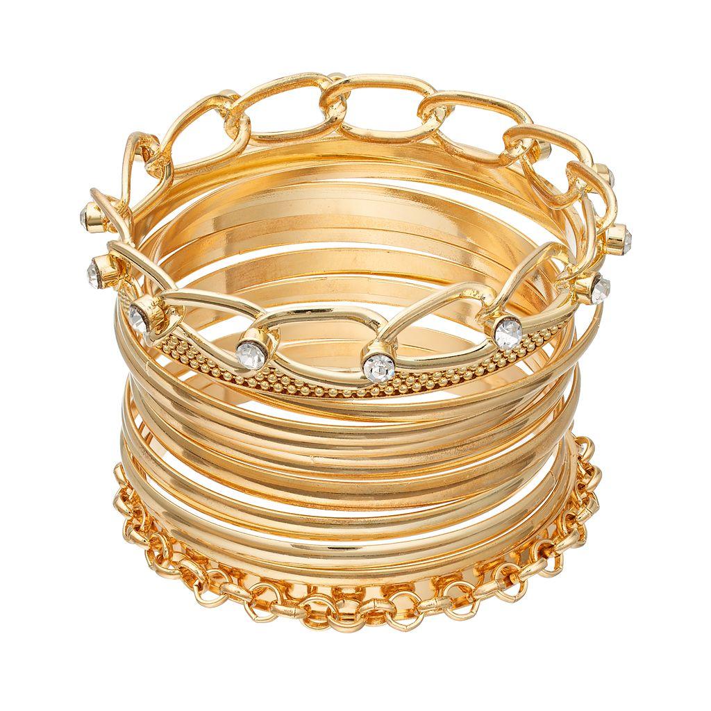 Mudd® Polished, Textured & Chain Link Bangle Bracelet Set