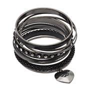 Mudd® Heart Charm, Mesh & Studded Bangle Bracelet Set