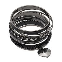 Mudd® Heart Charm, Mesh & Studded Bangle Bracelet Set