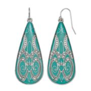 Mudd® Teal Filigree Nickel Free Teardrop Earrings