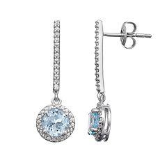 Sterling Silver Sky Blue Topaz Linear Halo Drop Earrings