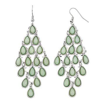 Mudd® Green Glittery Teardrop Kite Earrings