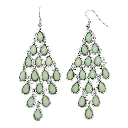 Mudd® Green Glittery Teardrop Kite Earrings