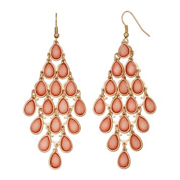 Mudd® Pink Glittery Teardrop Nickel Free Kite Earrings