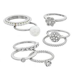 Mudd® Fireball, Flower & Solitaire Ring Set