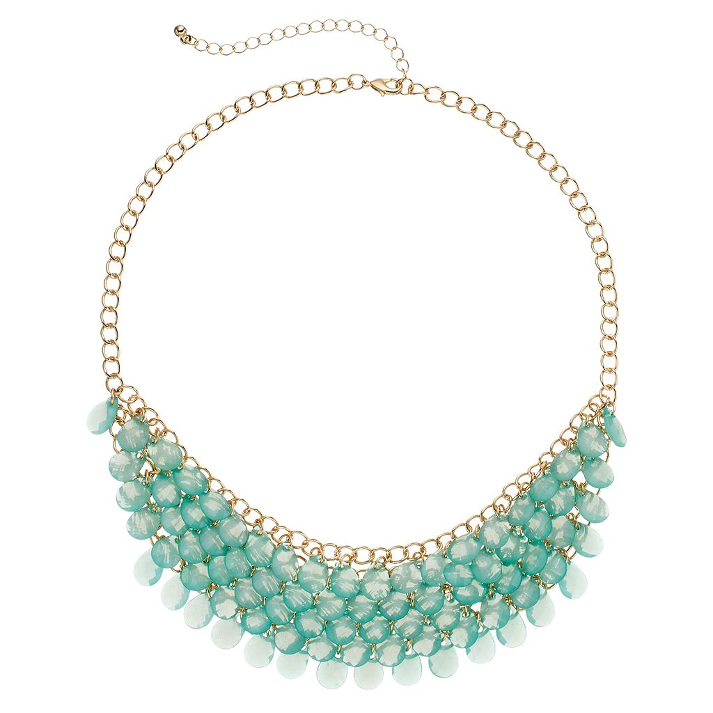 Mudd® Teal Shaky Bead Statement Necklace