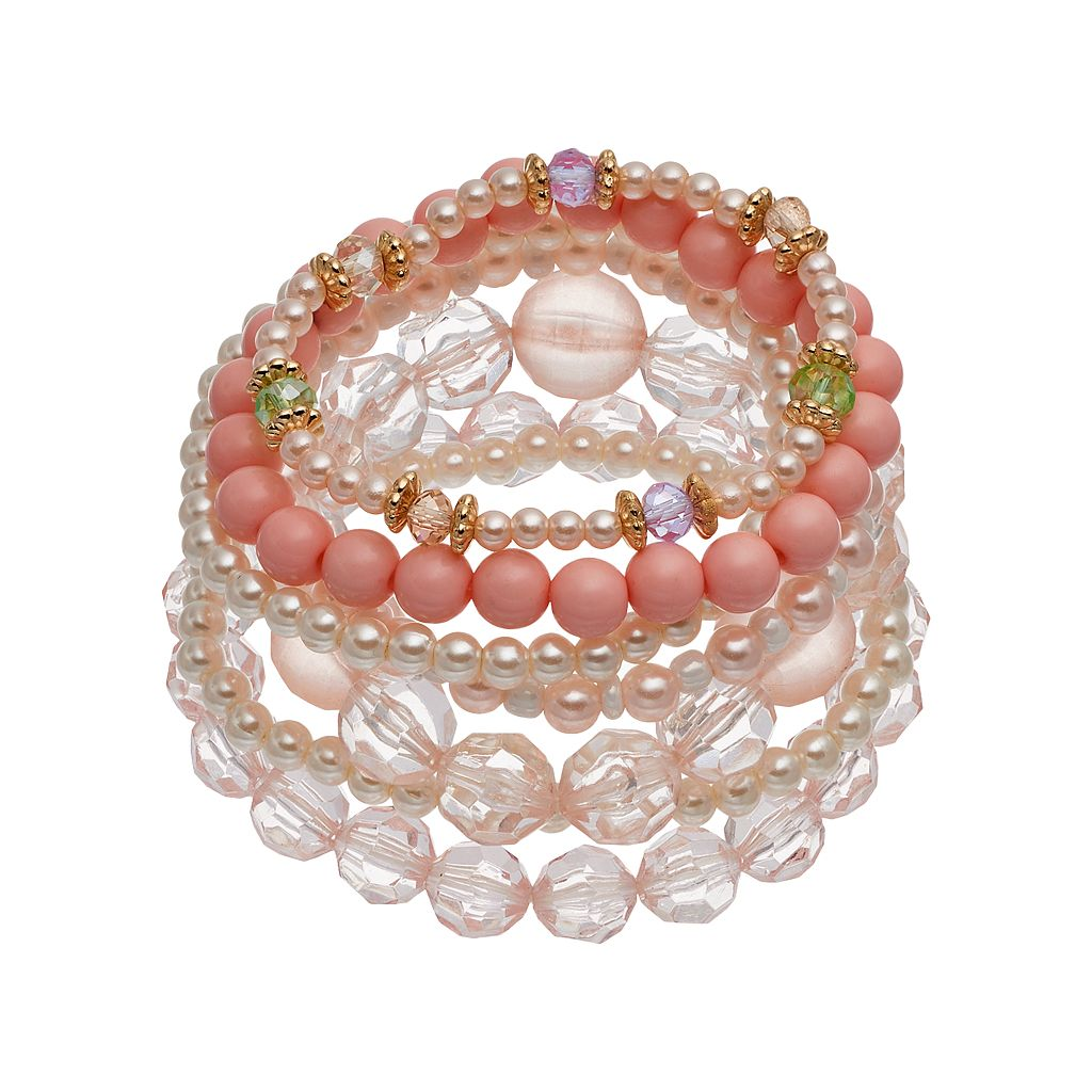 Mudd® Pink Beaded Stretch Bracelet Set