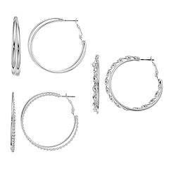 Mudd® Twisted Nickel Free Double Hoop Earring Set