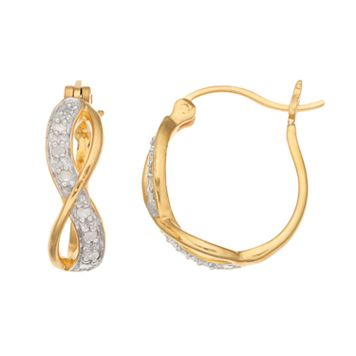 14k Gold Over Silver 1/10 Carat T.W. Diamond Infinity Hoop Earrings