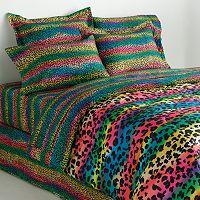 Veratex Rainbow Leopard Reversible Comforter Set