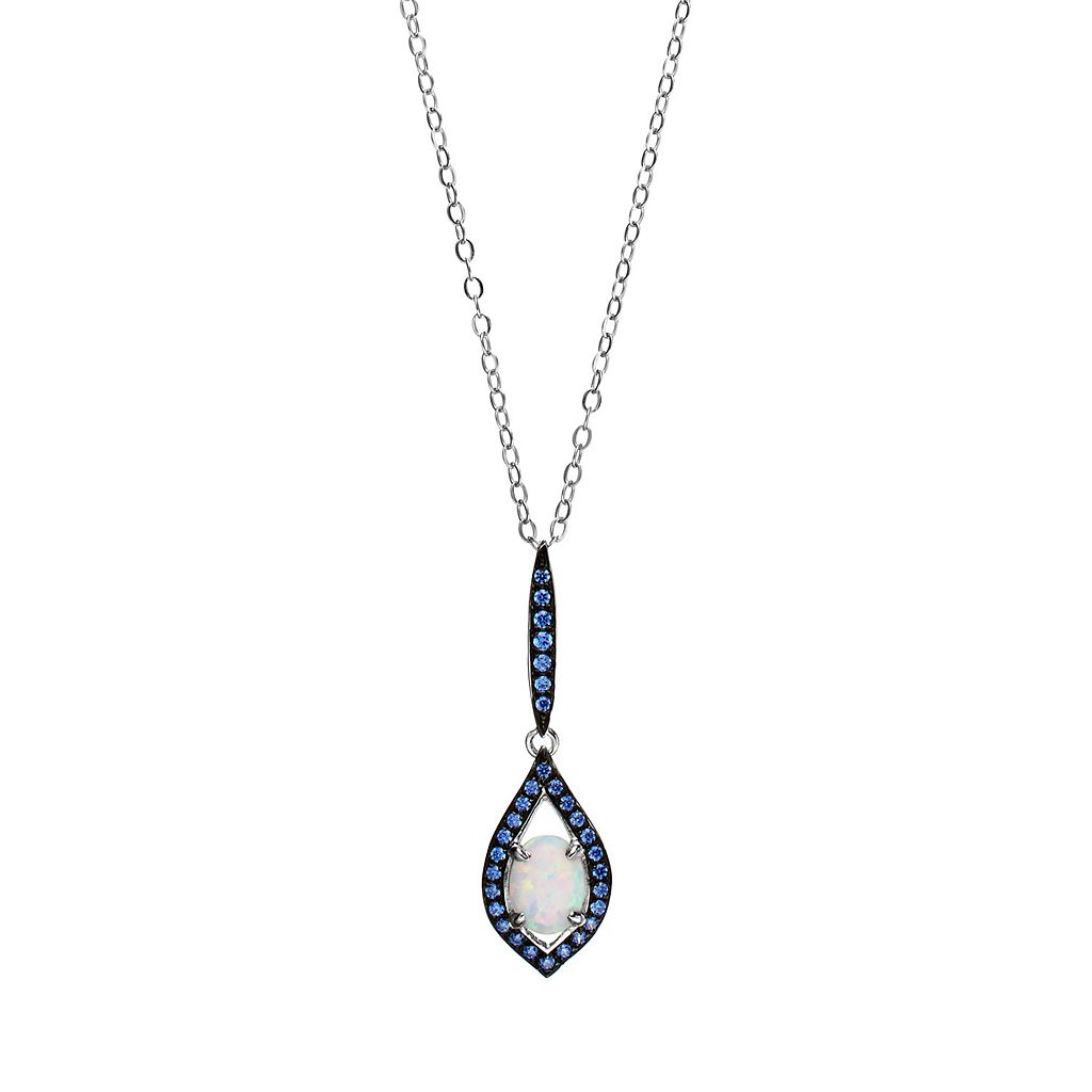 Sparkle Gem Sterling Silver Simulated White Opal & Blue Cubic Zirconia Linear Marquise Pendant Necklace