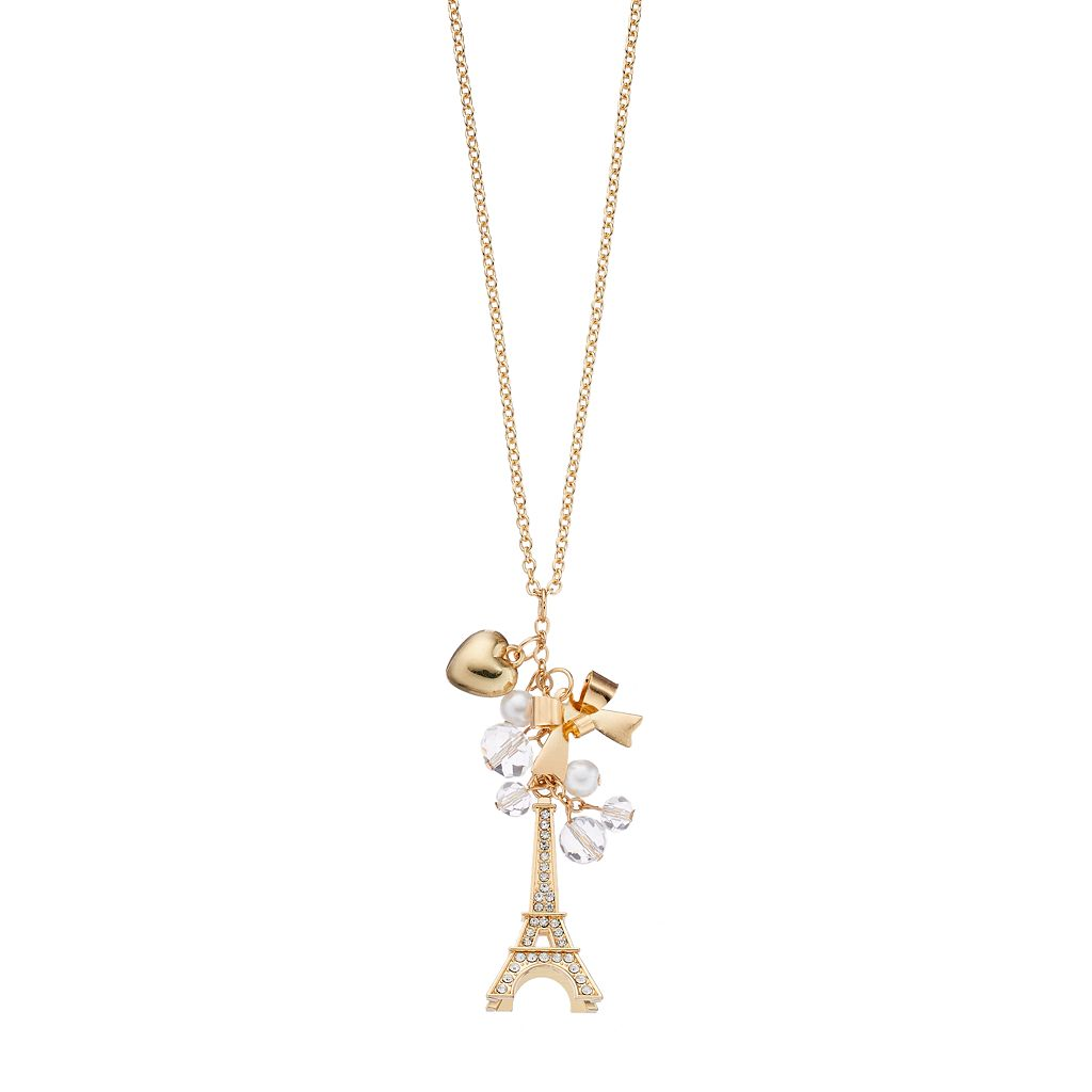 Mudd® Long Eiffel Tower, Heart & Bow Charm Necklace