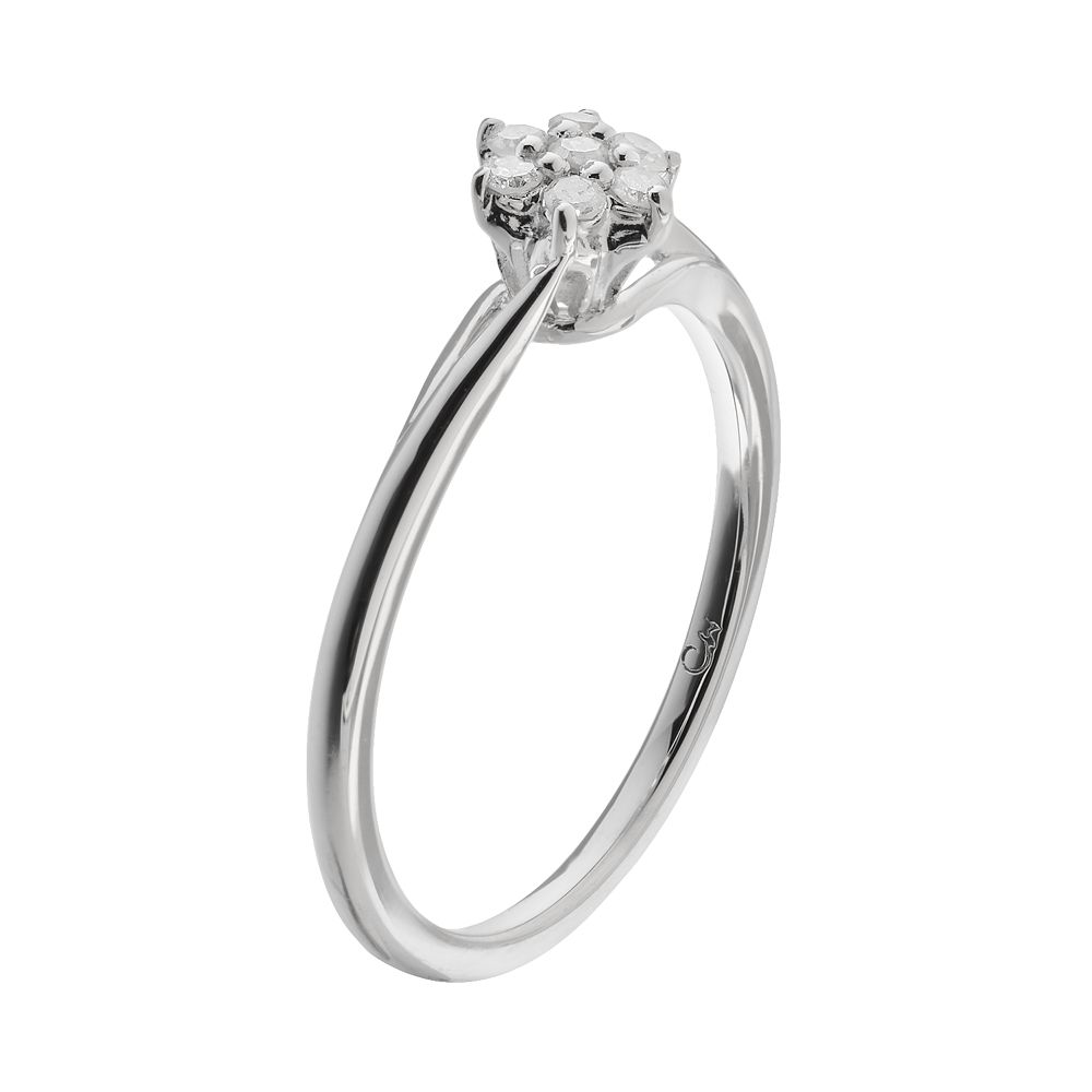 10 Carat Tw Diamond Sterling Silver Flower Promise Ring