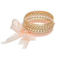 Mudd® Simulated Pearl & Chiffon Bow Bangle Bracelet Set