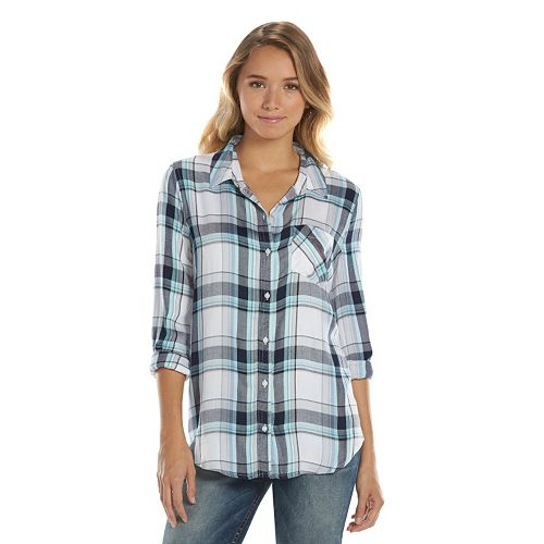 8fd3f79fb Juniors' SO® Plaid Button-Down Shirt