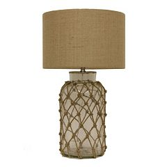 Decor Therapy Rope Net Seeded Glass Table Lamp