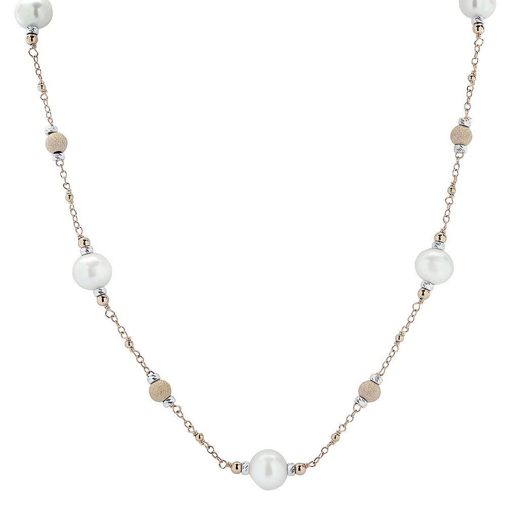 PearLustre by Imperial Freshwater Cultured Pearl 14k Rose Gold Two Tone Bead Station Necklace