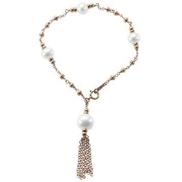 PearLustre by Imperial Freshwater Cultured Pearl 14k Rose Gold Filled Tassel Bracelet