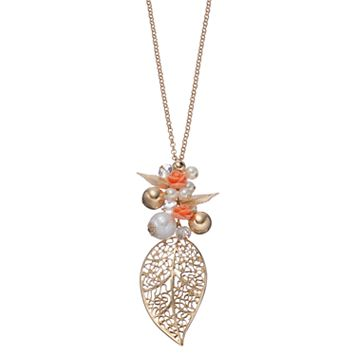 Mudd® Long Leaf & Rosette Charm Necklace