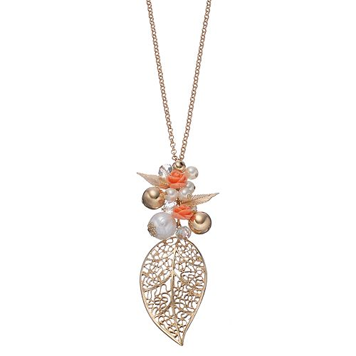 Mudd® Long Leaf & Rosette Charm Necklace