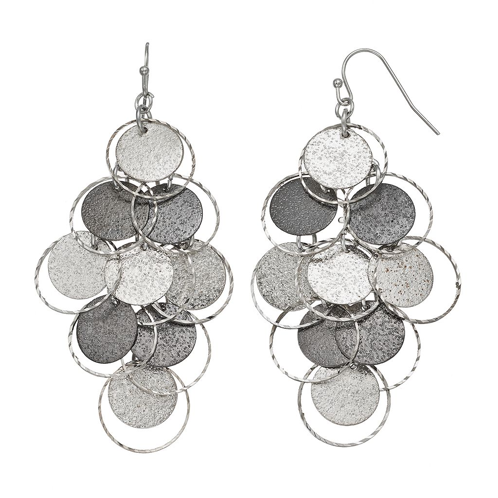 Mudd® Textured Disc Two Tone Nickel Free Kite Earrings